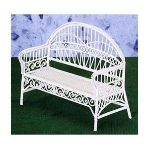 Dollhouse Miniature White Wire Patio Bench Everything