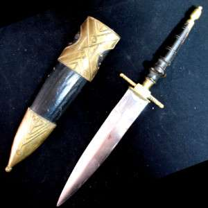 ANTIQUE KNIFE DAGGER INDIA Carved HANDLE Brass CASE