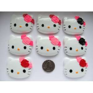 8 Xl Resin Cabochon Flat Back Kitty Cat Mix Flower for