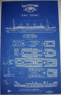 Vintage White Star Line TITANIC 1st Class Only Section Blueprint Plan