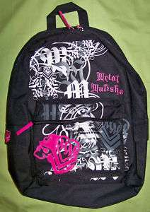 METAL MULISHA girls BLK/WHT/PINK backpack/bookbag   NWT