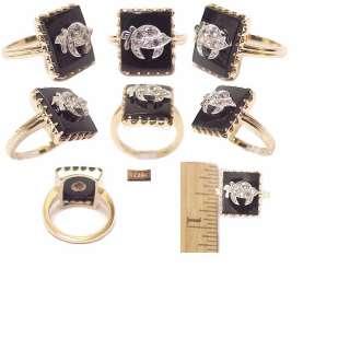 Masonic Solid Gold Black Onyx & Diamond Shriners Ring