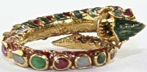 VINTAGE 1920S 22K GOLD EMERALD RUBY DIAMOND ENAMEL DRAGON RING SIZE 6