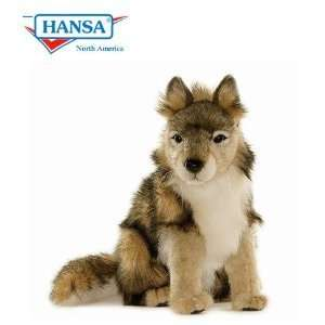 Hansa Wolf Cub Seated Stuffed Plush Animal