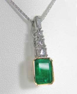 Estate 3.00ct Emerald Diamond Necklace Platinum & 18K Gold