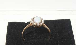 VICTORIAN 10K ROSE GOLD RING WITH OPAL & PEARLS 1.5 GRAMS