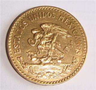 20 Peso Pure Gold Mexican Coin 1959 Beautiful BU Coin