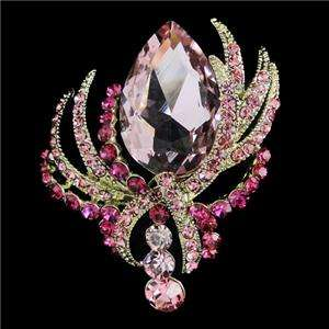 Strip Brooch Pin Pink Swarovski Crystal Pendant Curved Line