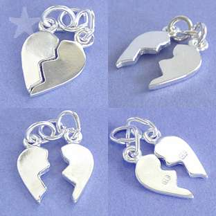 BROKEN HEART TWO PIECES Sterling Silver Charm Pendant