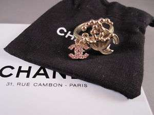 Auth CHANEL 10A Dangle CC Trio Crystal Gold Tone Ring