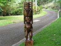 Hawaiian Tiki God Sculpture wood carving tropical decor