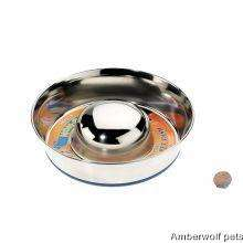 stainless steel slow feed dog bowl for fast eaters