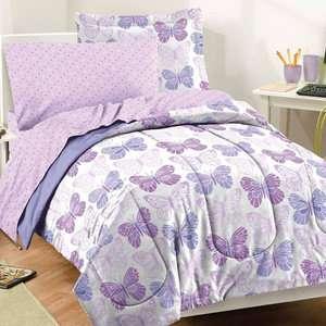 BUTTERFLY TWIN COMFORTER SET BED IN A BAG SHEET TEEN GIRLS BEDDING NEW
