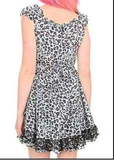 TRIPP~ GRAY CHIFFON LEOPARD LACE RUFFLED BLACK LACE DRESS S