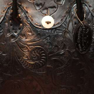 Hand Tooled Leather Bag with Bone Buttons   Hand Made