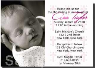 Christening Photo Baptism Invitations Boy&Girl Colors