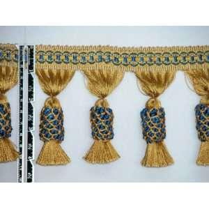 end Pineapple Tassel Fringe Trim Gold Navy Per Yard