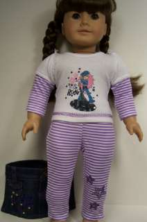 ROCK STAR Outfit w/Shirt, Skirt, Leggings 3pc Doll Clothes For