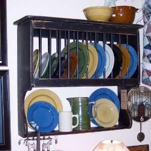 Handmade Primitive Cottage Vertical Plate Rack   Color