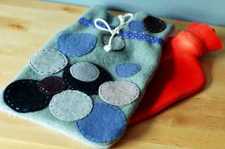 Blue Circles Felted Wool Hot Water Bottle Cover: Other Personal Care