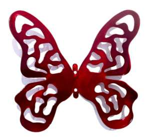 Butterfly Metal Modern Contemporary Wall Sculpture S Red Signed