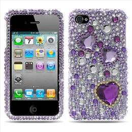 iPHONE 4 4S Full Diamond Case Silver Crystal Bling Cell Phone Cover