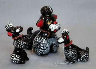 VTG BLACK POODLE DOG w PUPPIES CERAMIC FIGURINES UNKNOW