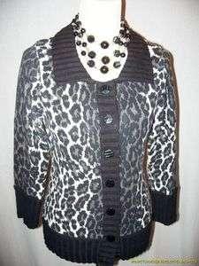 New Charlotte Cardigan L Large Leopard Print White, Black, Gray Cotton