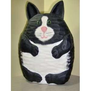 Black & White Wooden Cat