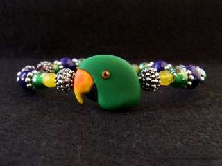 Male Eclectus Parrot Art Beaded Bracelet Jewelry by Clay Artist Alicia