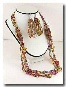 MULTI STRAND MULTI COLOR GLASS SEED BEAD LUCITE BEAD LONG NECKLACE