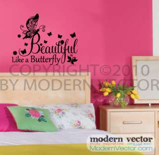 Beautiful like Butterfly Vinyl Wall Quote Decal Nursery