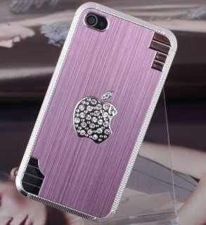 Elegant Pink Bling Diamond Apple Logo Hard Skin Cover Case for iPhone4