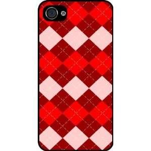 Rikki KnightTM Triple Red Argyle Rubber Black iphone Case