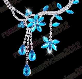 Free choker necklace earring 1set rhinestone