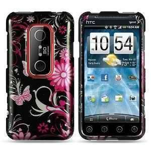 HTC EVO 3D (Sprint) Black Pink Butterfly Flower Premium Snap On Phone