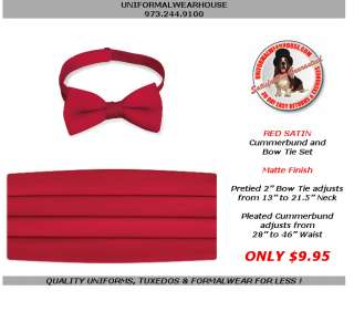 Adult RED Satin Tuxedo Cummerbund Bow Tie Set NEW