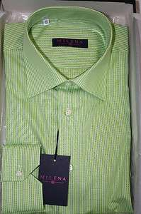 Milena by Delsiena ITALY Mens Lime Green Dress Shirt New in Box SKU