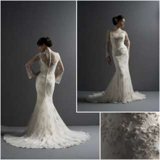 Champagne Lace High Neck Wedding Dress with Long Sleeve Button Back