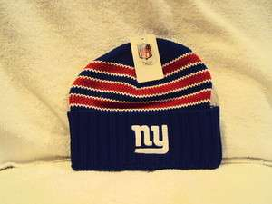 NEW YORK GIANTS Embroidered Logo NFL Blue Multi Striped Knit Cuffed