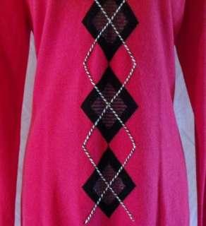 size M Medium dark pink 2 Ply CASHMERE SWEATER Argyle NEW NWT