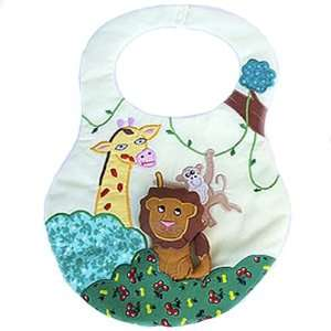 Jungle Animals Baby Bib w/ Removable Lion Toy Baby