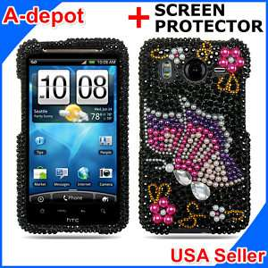 Butterfly Bling Case Cover HTC Inspire 4G ATT Accessory
