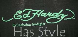 ED Hardy T Shirt KOI FISH Long Sleeve Rhinestones M NWT