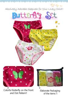 Toddlers Girl 3 pack of Underwear Briefs Pantie Set Butterfly Set