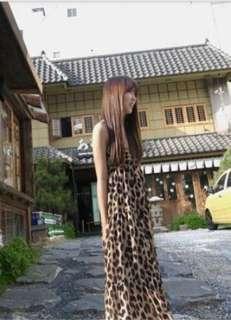 sexy women Bohemian Maxi Long Dresses Chiffon Leopard Pattern Low Cut
