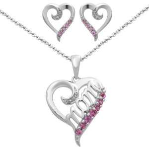 Pink Sapphire Heart Pendant Necklace and Earring Box Set Jewelry