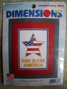 DIMENSIONS CROSS STITCH KIT GOD BLESS AMERICA STAR FLAG