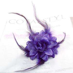 Bride Boutique Flower Feather Hair Band/Pin Brooch Purp
