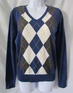 IZOD New Navy Blue Grey Argyle V Neck Cotton Long Sleeve Sweater Top